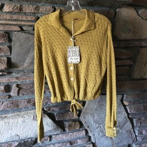 NWT Free People Betty Tie Front Sweater